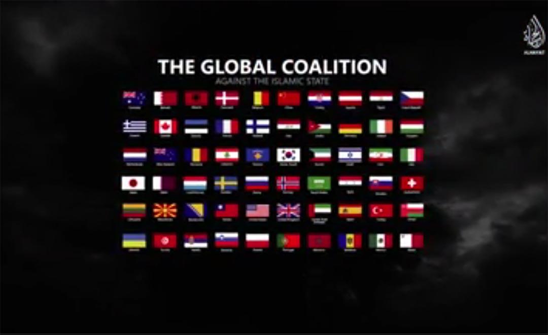 IS 最新宣傳片中出現60個反「伊斯蘭國」聯盟國家的國旗。ISIS宣傳片截圖