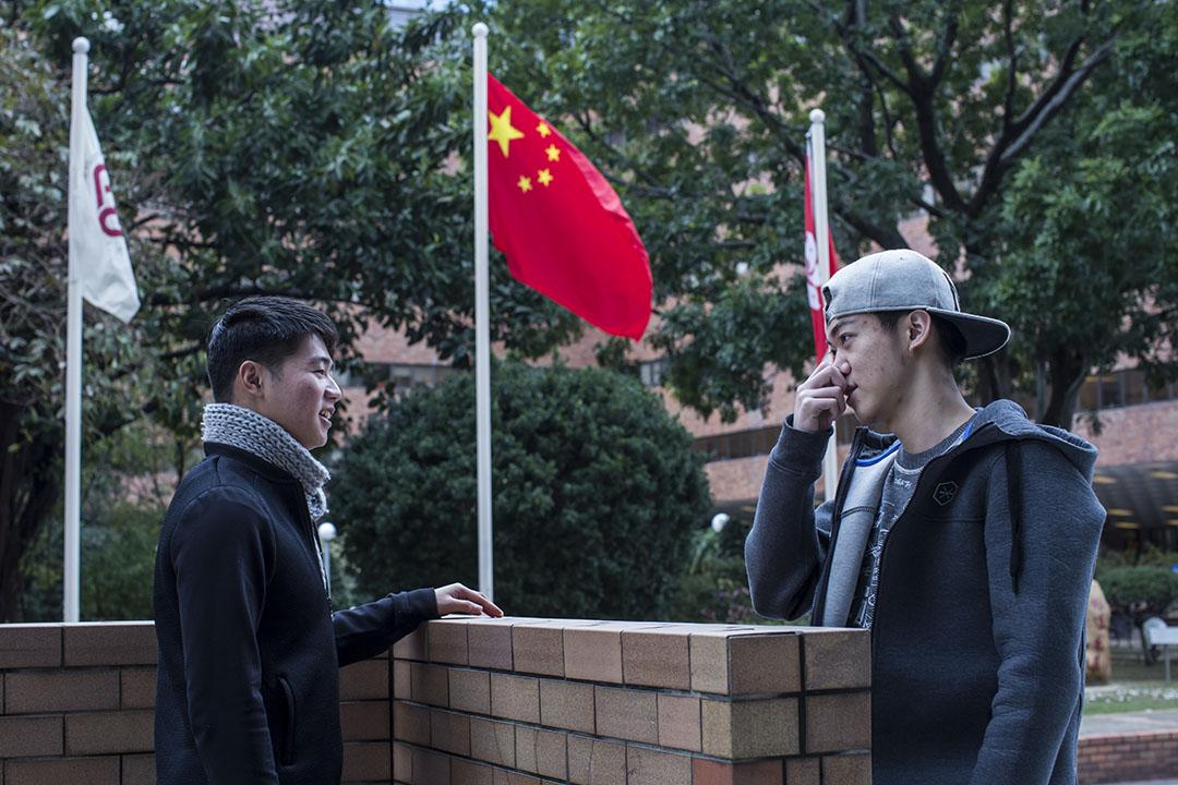 在民主牆事件中公開發聲的香港理工大學內地生汪煜(左)與劉子豪(右)。攝:羅國輝/端傳媒