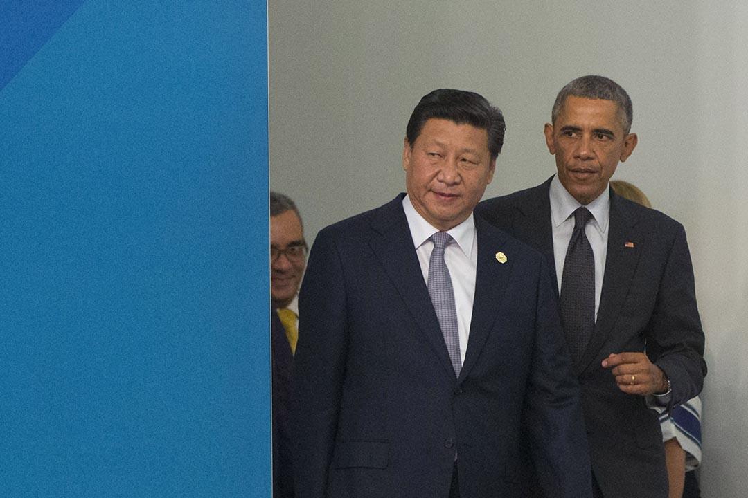 9月22日,中國國家主席習近平啟程前往美國進行其任內的首次國是訪問。圖為習近平與奧巴馬出席G20峰會。攝 : Pablo Martinez Monsivais/AFP
