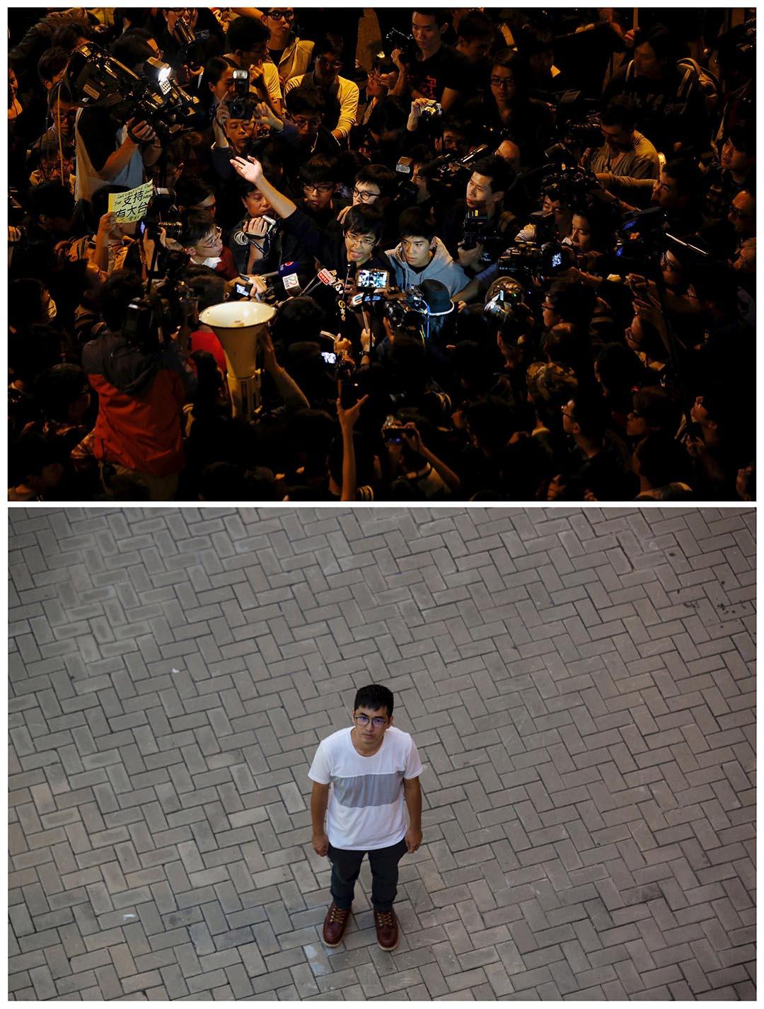 上圖攝於去年11月21日,時任專上學生聯會秘書長周永康在政府總部外接受傳媒訪問。下圖為周永康於今年9月24日在同一地點拍照。他認為香港人應該對雨傘運動感到自豪。他反問:「你有見過香港人為爭取改變而上街和佔領馬路嗎?那一刻,我看到了香港人的另一面。」攝:(上圖)Bobby Yip/REUTERS,(下圖)Tyrone Siu/REUTERS