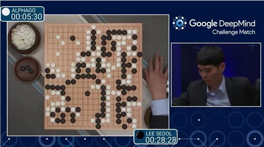 李世石與 AlphaGo 首戰結束時的棋局。DeepMind 直播視頻截圖