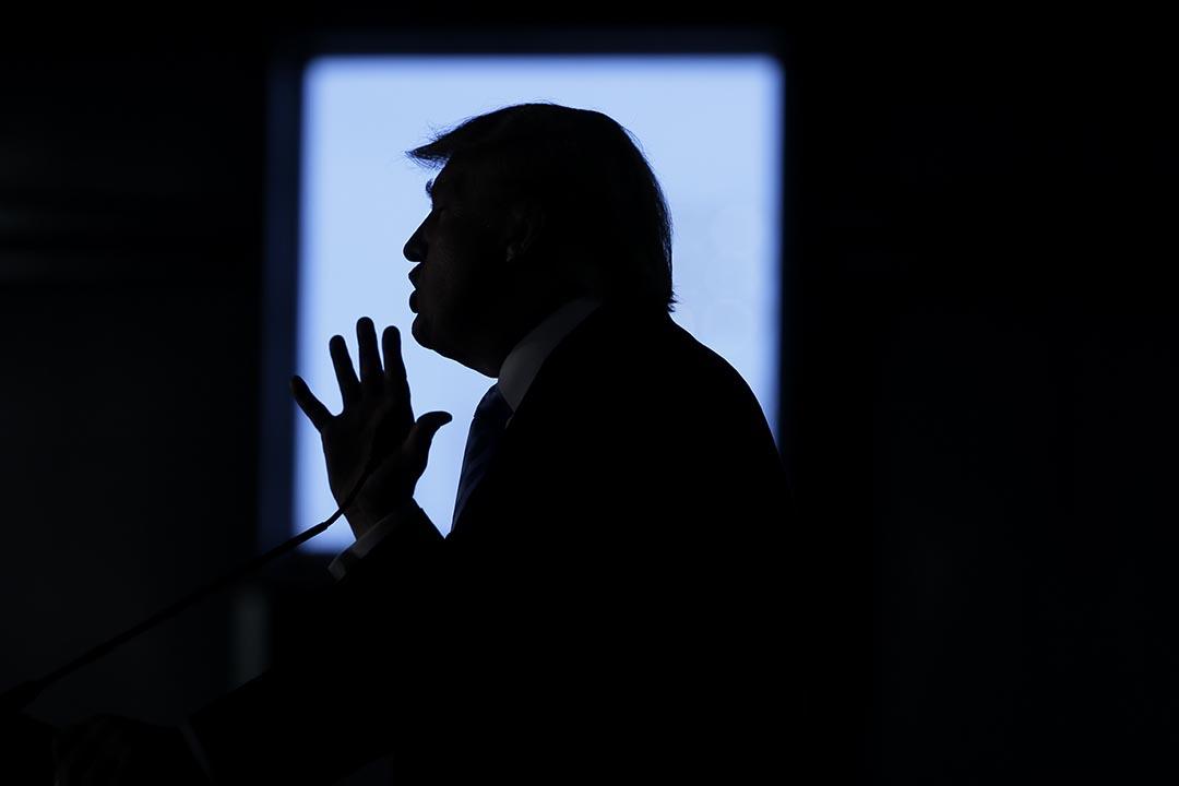 美國共和黨總統候選人當奴·特朗普在一個競選集會中演說。攝 : Charlie Neibergall/AP