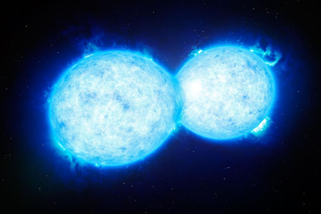 天文學家近日發現一對兒好像在接吻的雙星系統,圖為雙子星設計圖片。歐洲南方天文台網頁圖片。