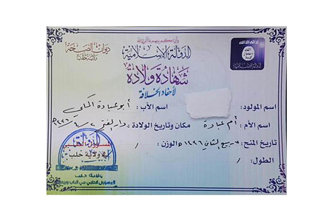 2015年1月阿勒頗(Allepo)Wilayat Halab地區新生兒出生證。圖片來源:塔米米