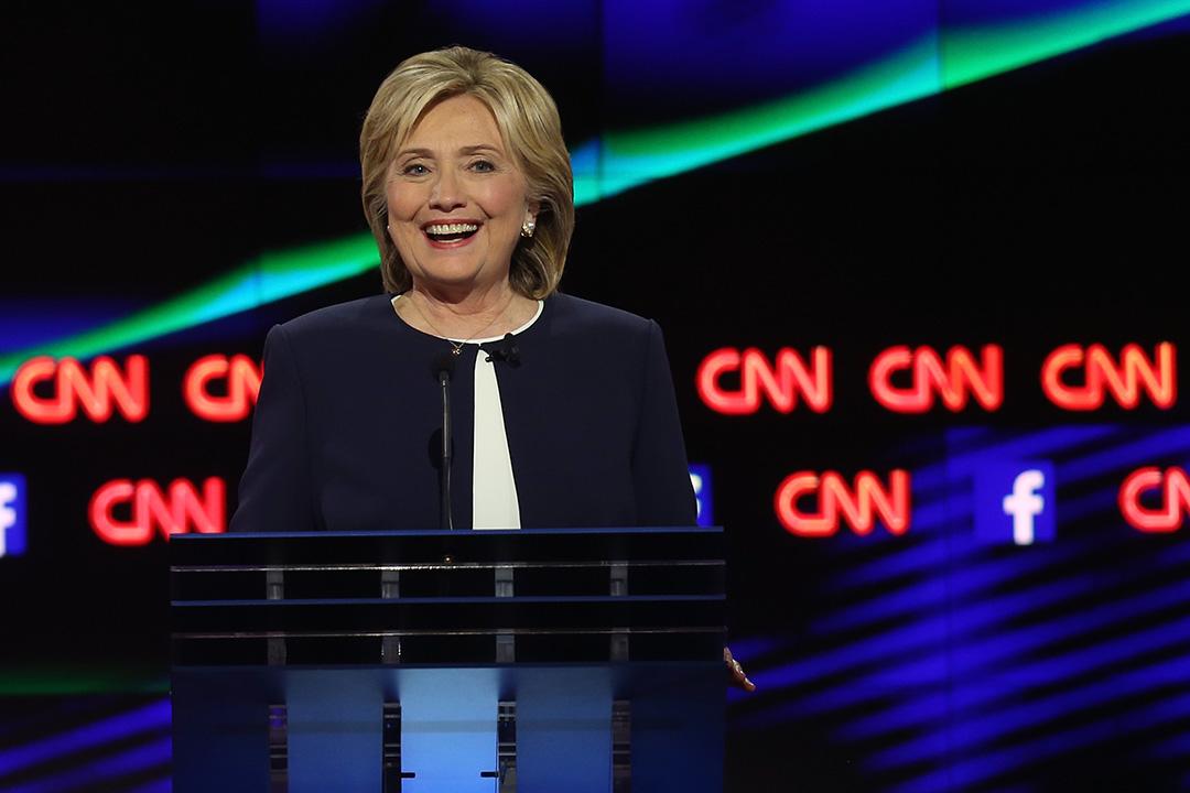 總統候選人希拉里參與電視辯論。攝: Joe Raedle/GETTY