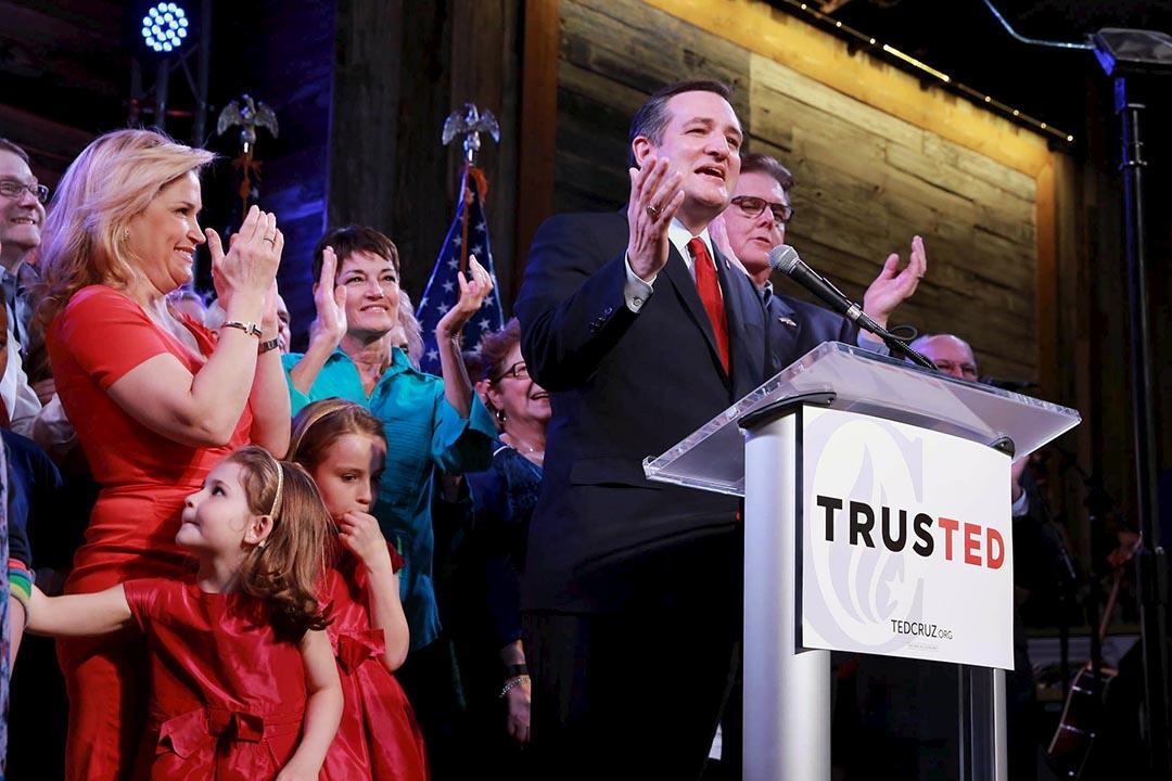 共和黨總統參選人克魯斯在德州一個造勢晚會中演説。攝 : Richard Carson/REUTERS