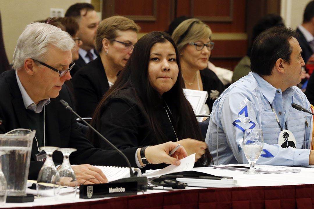 原住民女孩 Rinelle Harper出席失踪和被謀殺的原住民婦女和女孩的國家圓桌會議。攝 : Chris Wattie/REUTERS