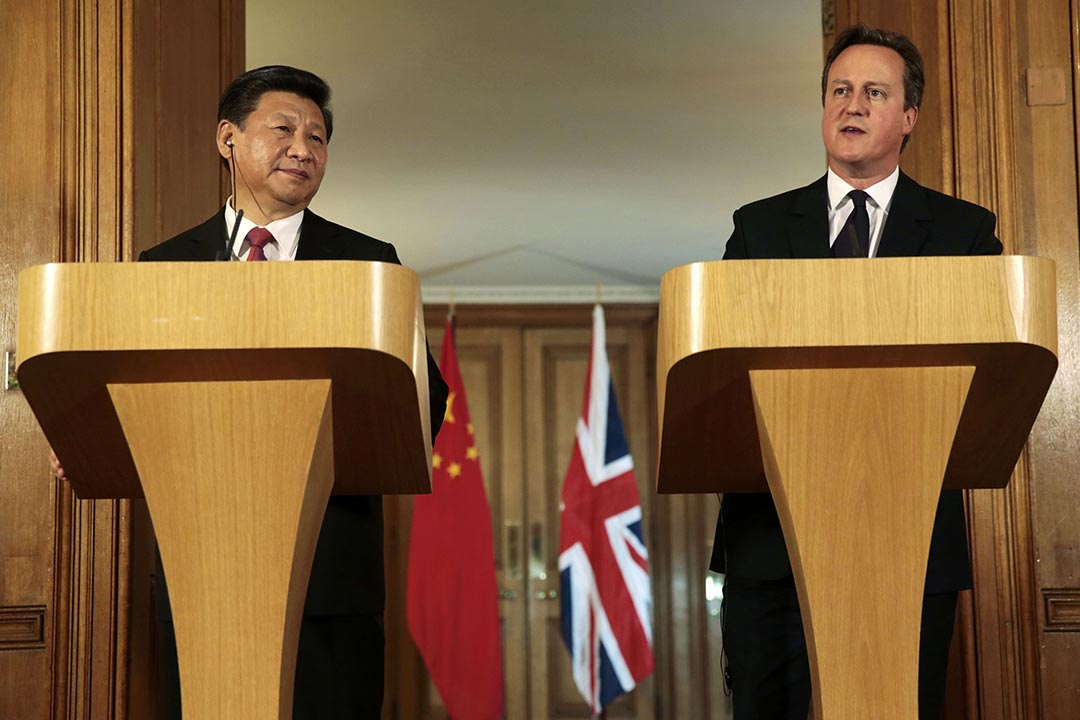 中國國家主席習近平和英國首相卡梅倫出席聯合新聞發布會。攝 : Suzanne Plunkett - WPA Pool/Getty Images