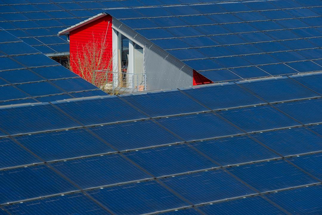 德國弗賴堡一間房屋頂部裝設的太陽能發電裝置。攝:Harold Cunningham/Getty
