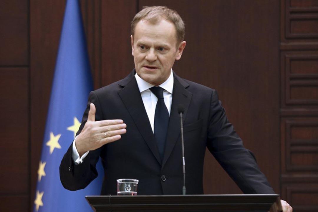 3月3日,歐洲理事會主席圖斯克(Donald Tusk)警告非法經濟移民不要來歐洲。攝:ADEM ALTAN / AFP