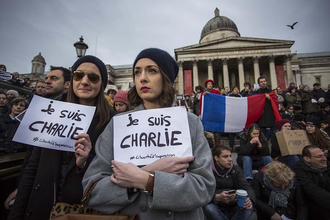無國界記者組織( Reporters Without Borders):2015年全球共有110名記者遇害。圖為悼念查理周刊總部槍擊案導致9名记者遇害集會。攝:Rob Stothard/Getty Images