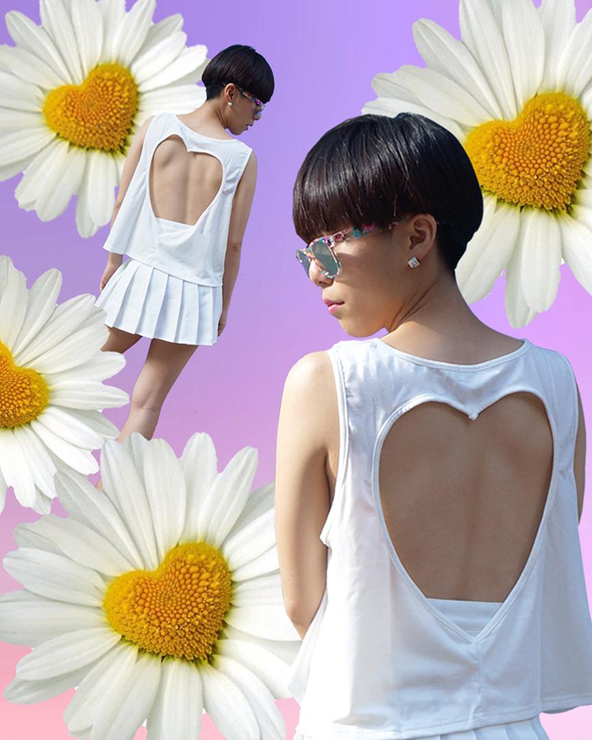 麥影彤自己擔任模特,為 Bubblegum Disco 拍攝的照片。圖片由麥影彤提供