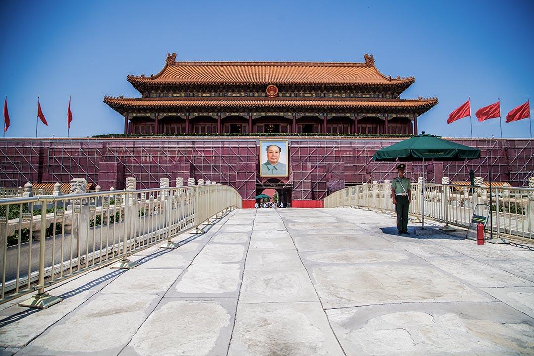 為迎接將在9月3日舉行的抗日戰爭勝利70周年閱兵式,天安門城樓暫停開放至9月7日。攝 : Stringer/ChinaFotoPress