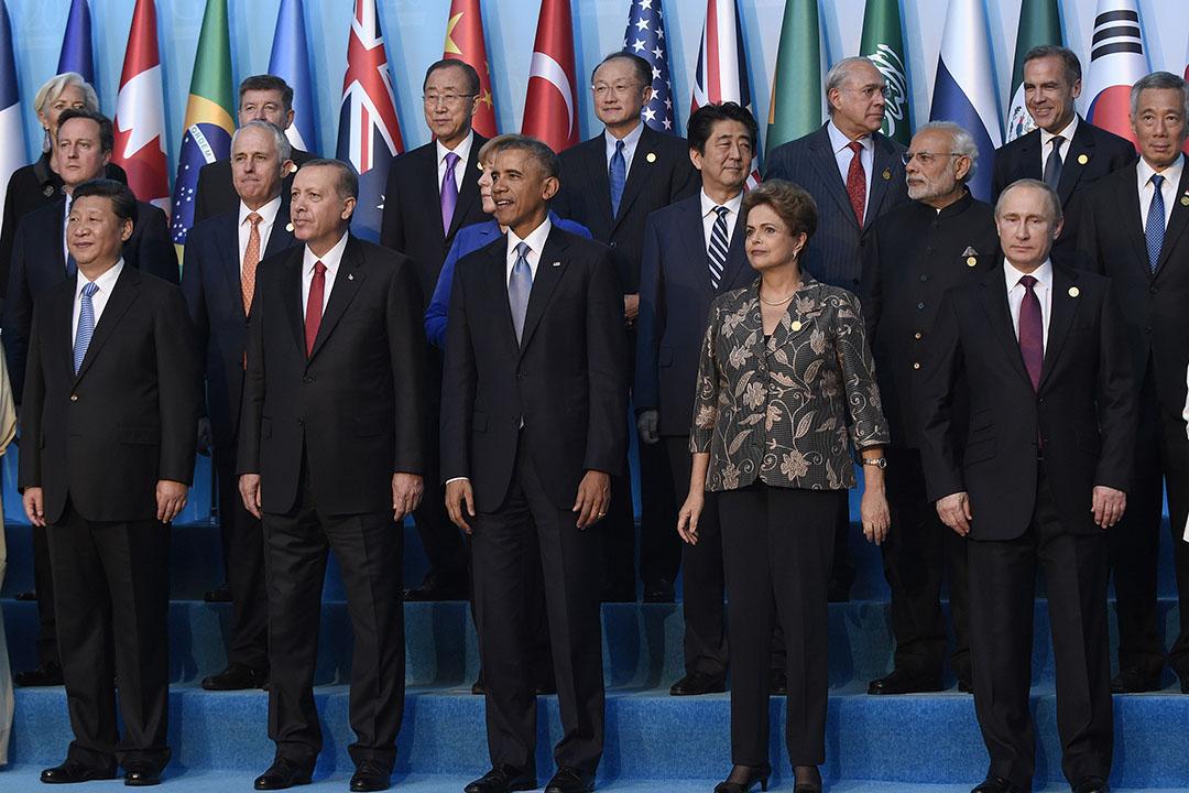 2015年11月15日,20國集團(G20)領袖齊集土耳其安塔利亞。攝:Susan Walsh/AP