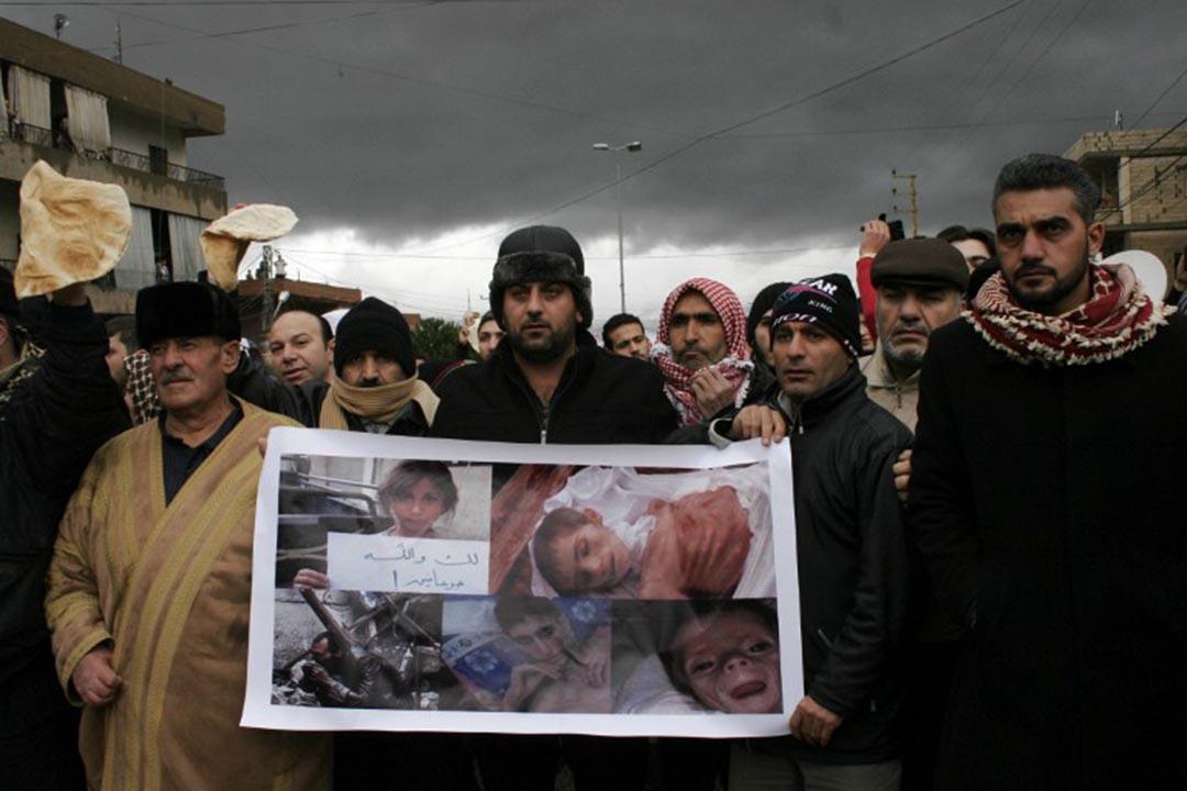 2016年1月8日,敘利亞小鎮馬達亞(Madaya),示威者抗議內戰陷入饑荒。AFP