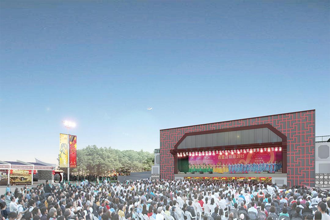 大埔區議會擬撥款約5000萬元,在林村許願廣場建有蓋舞台。 模擬圖片
