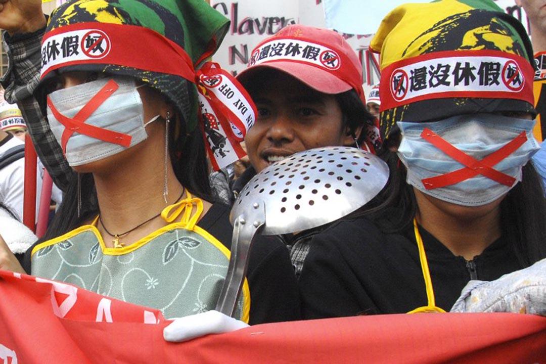 台北,外籍工人集會要求平等的休息時間和假期。攝:PATRICK LIN/AFP