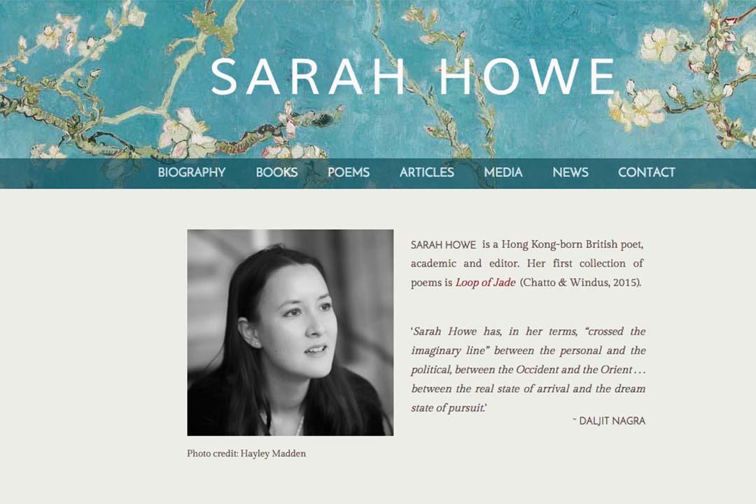 香港出生的詩人 Sarah Howe。Sarah Howe  網頁截圖