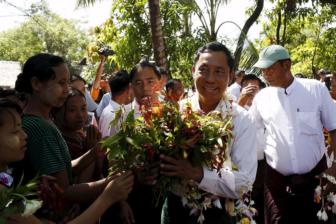 2015年11月4日,執政聯邦鞏固與發展黨(USDP)前主席瑞曼。攝:Olivia Harris/REUTERS