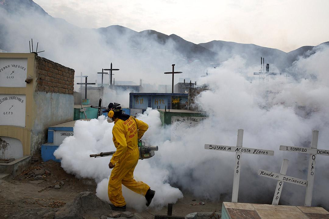 2月1日,秘魯利馬,衛生防疫人員在利馬郊區噴灑滅蚊劑,撲滅傳播寨卡病毒的伊蚊。攝:Mariana Bazo/REUTERS