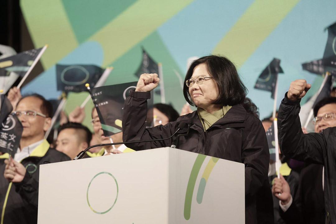 2016年1月16日,台北,民進黨主席蔡英文當選台灣總統。攝:Anthony Kwan/端傳媒