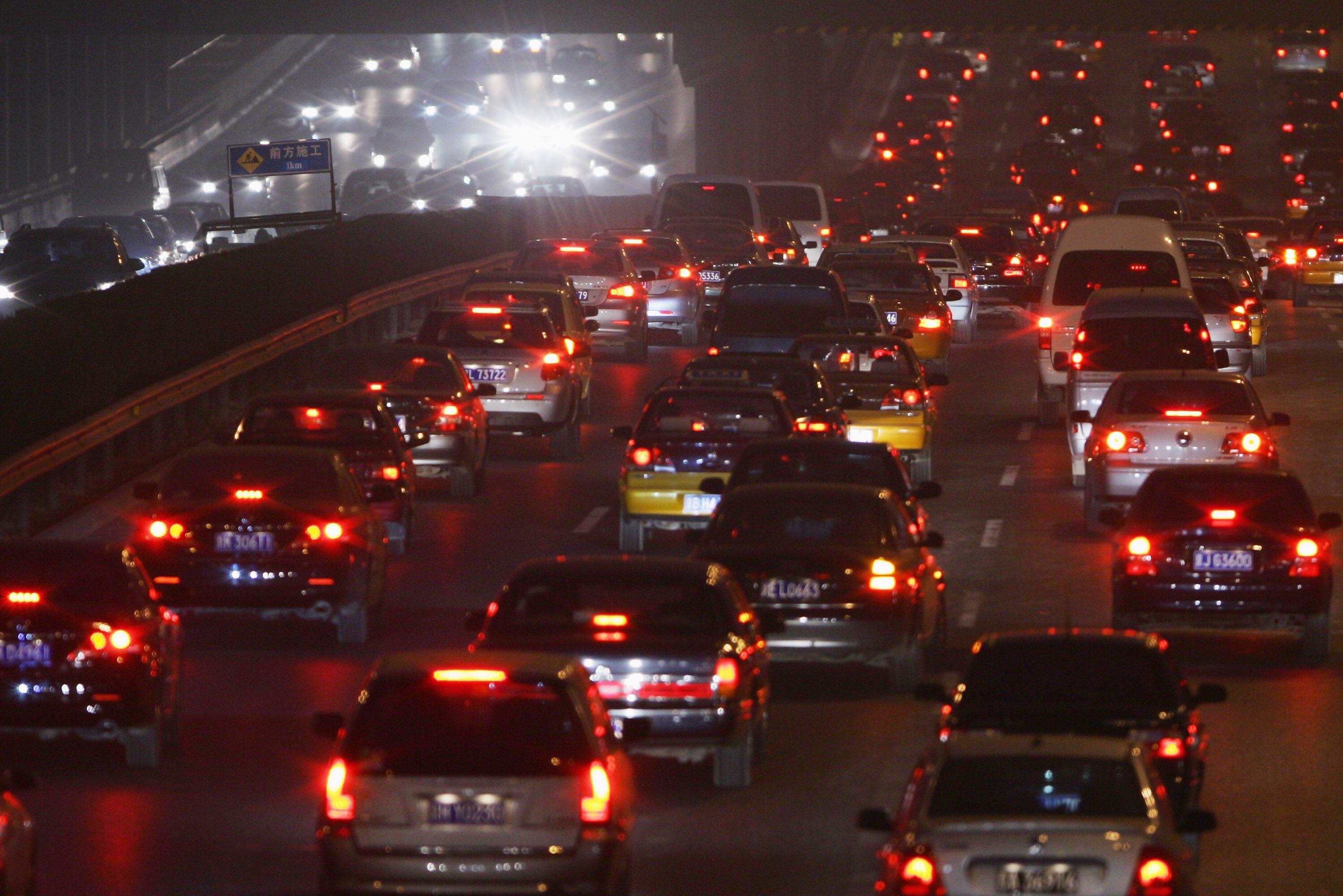 北京堵車問題十分嚴重。攝:Feng Li /Getty