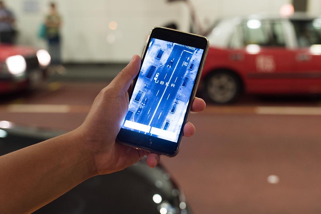 Uber應用程式。攝 : Lit Ma/端傳媒