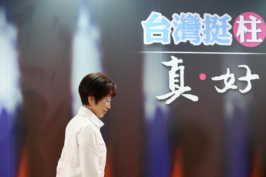 2015年10月7日,台北,國民黨總統候選人洪秀柱在黨中常會上堅持參選。攝:張國耀/端傳媒