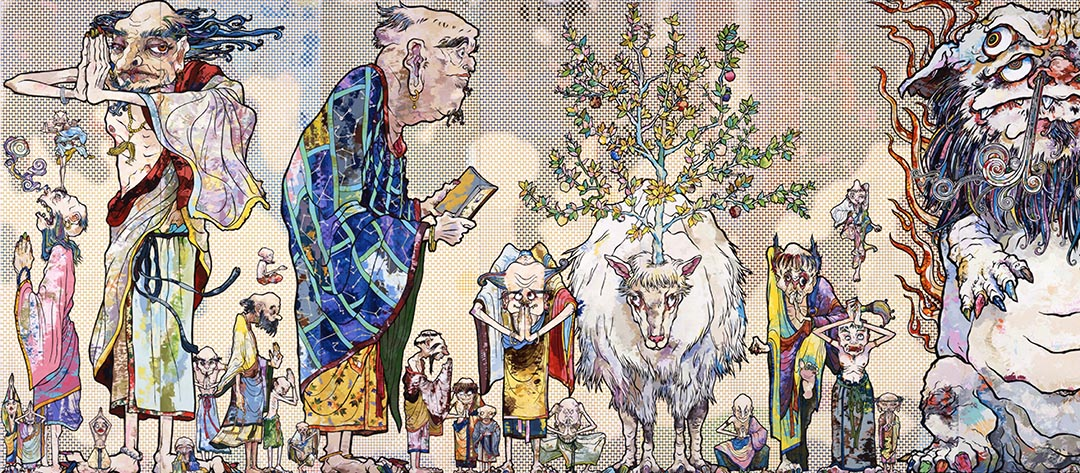 Takashi Murakami  The 500 Arhats (detail)  2012  Acrylic on canvas, mounted on board  302 x 10,000 cm  Private collection  © 2012 Takashi Murakami/Kaikai Kiki Co., Ltd. All Rights Reserved.