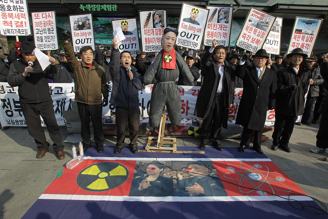 韓國團體發起反對朝鮮核試驗的示威活動,並展示朝鮮領袖金正恩的人偶。攝:Chung Sung-Jun/GETTY