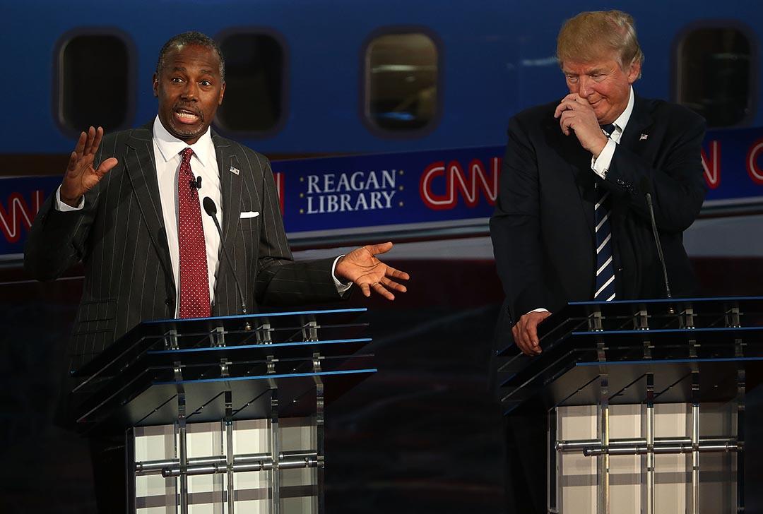 共和黨總統候選人卡臣(左)和當奴·特朗普(右)。攝 : Justin Sullivan/GETTY