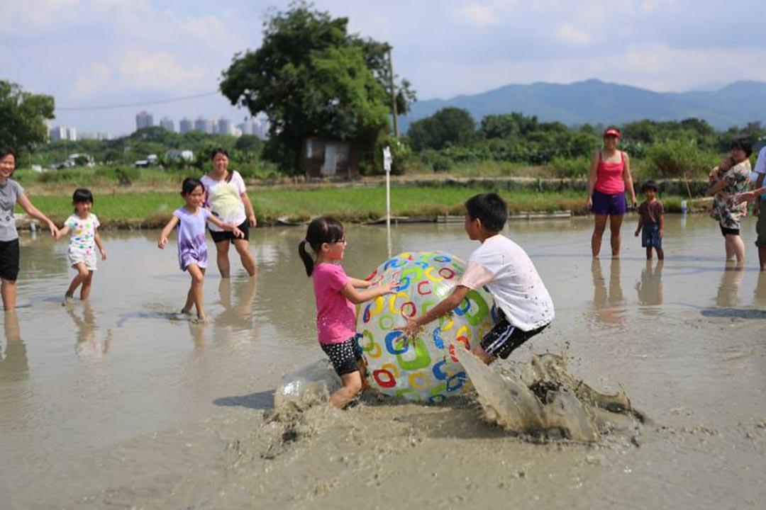 孩子在水田踢球,享受親近土地、擁抱泥土的機會。相片由綠腳丫提供