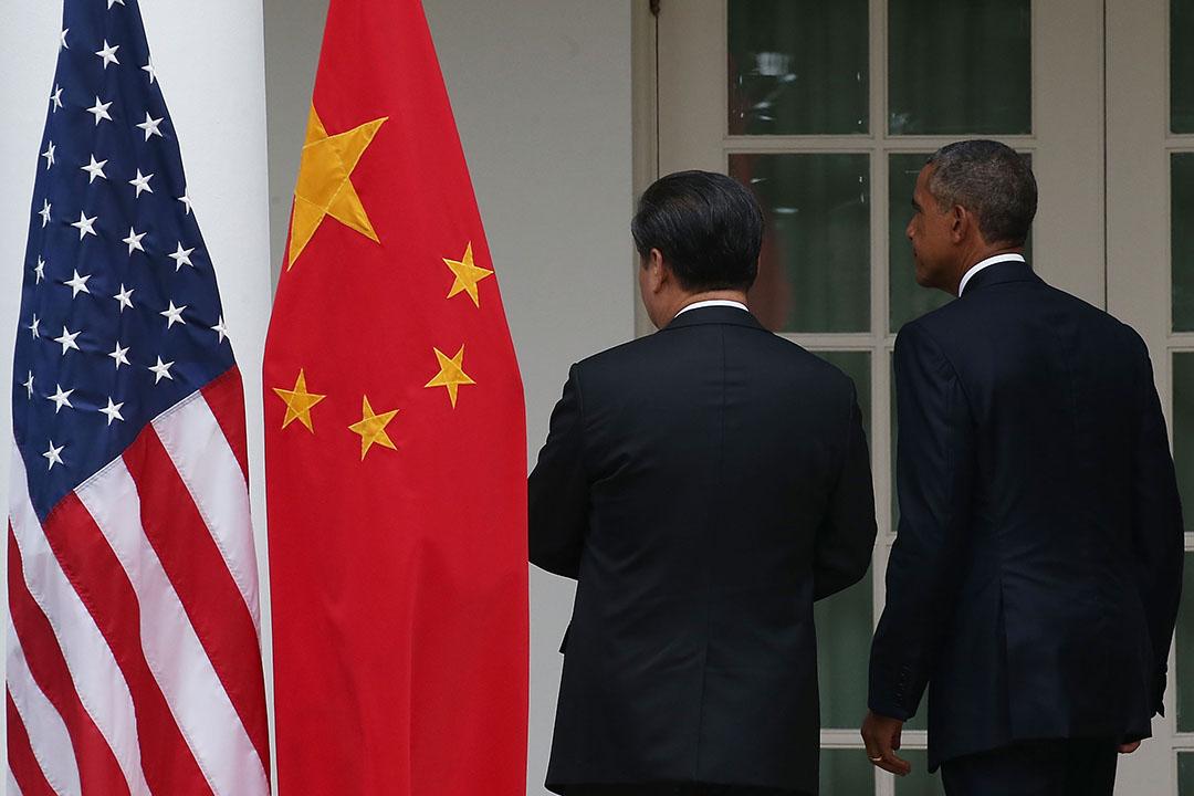 2015年9月25日,美國華盛頓,美國總統奧巴馬與中國主席習近平在白宮召開聯合記者會後離開會場。攝:Mark Wilson/GETTY