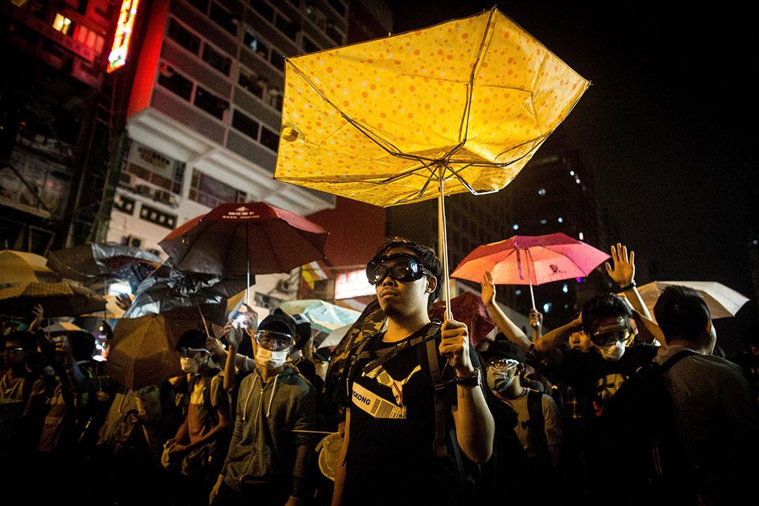 旺角佔領區的一夜。攝: Chris McGrath/GETTY