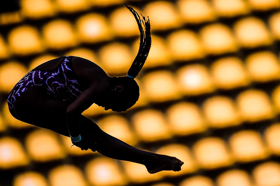 2016年2月20日,巴西,古巴跳水運動員加西亞(Tuti Garcia )在里約熱內盧參與跳水世界賽的十米彈板賽。攝:Buda Mendes/GETTY