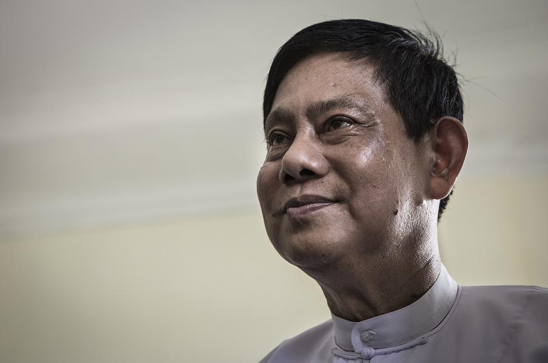 緬甸執政黨「聯邦鞏固與發展黨」(USDP)主席泰烏(Htay Oo)。攝 : Mathieu Willcocks/端傳媒