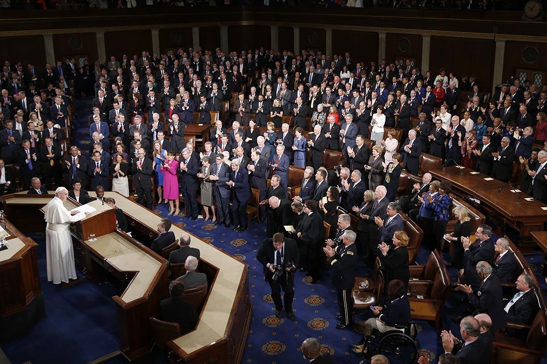 教宗方濟各在美國國會山莊進行演説。攝 : Evan Vucci/AP