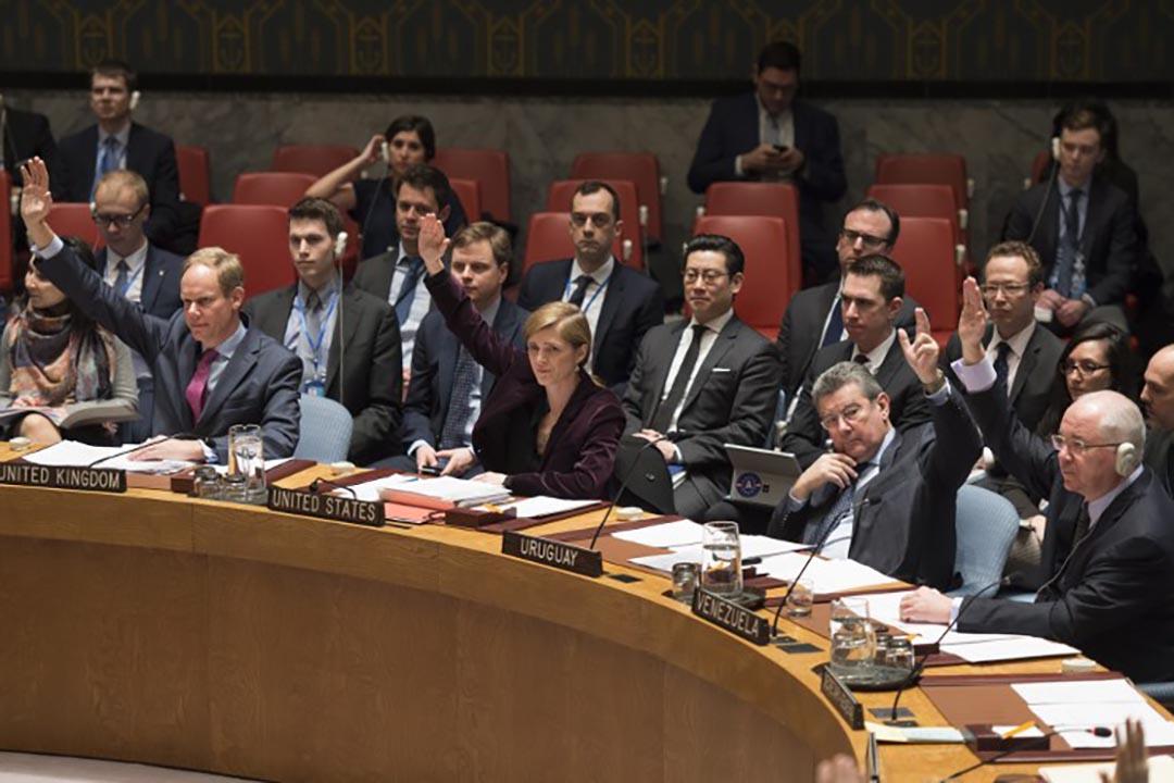 3月2日,聯合國安理會以15票贊成一致通過了進一步制裁北韓的決議。攝 : Don Emmert/AFP
