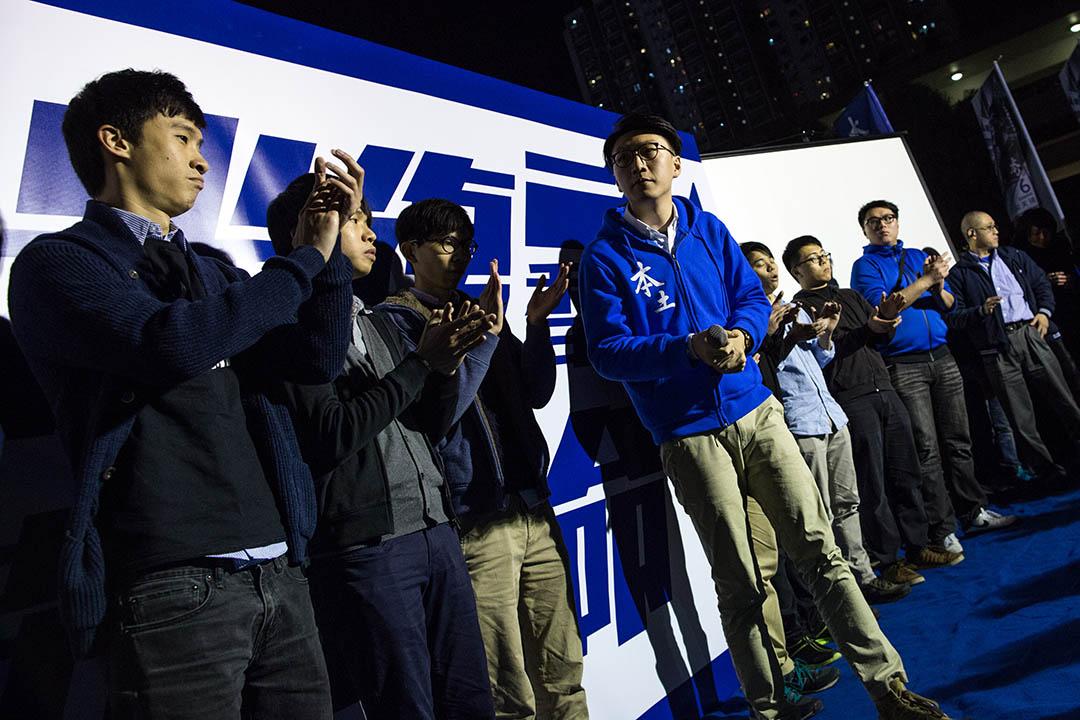 2016年2月20日,本土民主前線成員梁天琦在造勢晚會上演講。 攝:盧翊銘/端傳媒