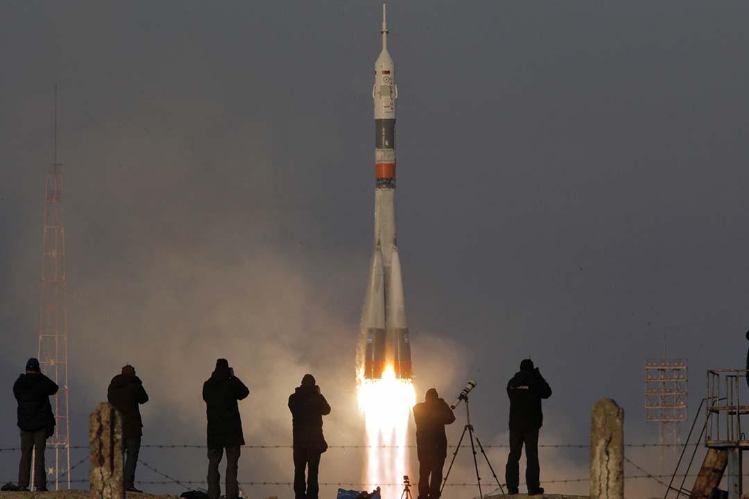 2015年12月15日,哈薩克斯坦拜科努爾航天發射場,俄羅斯聯盟號TMA-19M宇宙飛船成功升空。攝:Dmitry Lovetsky/AP