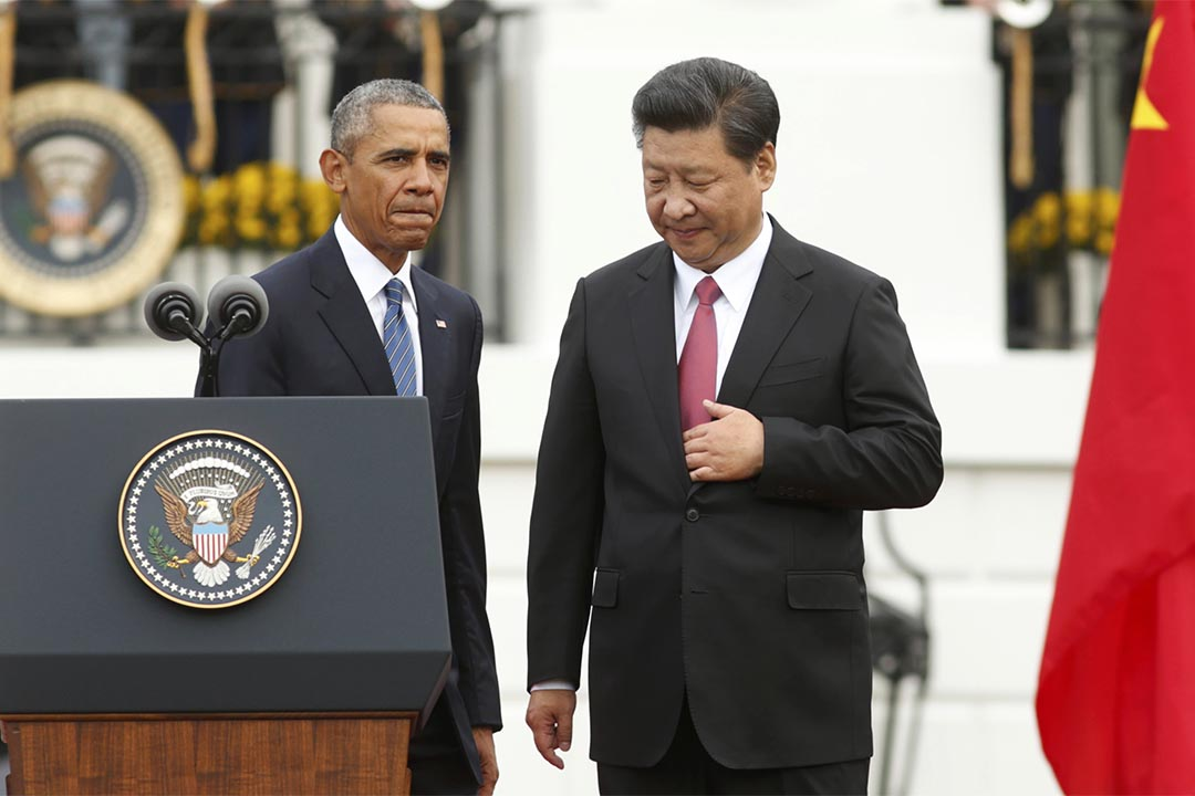 9月25日,中國國家主席習近平和美國總統奧巴馬於白宮舉行新聞發布會。攝:Kevin Lamarque/REUTERS
