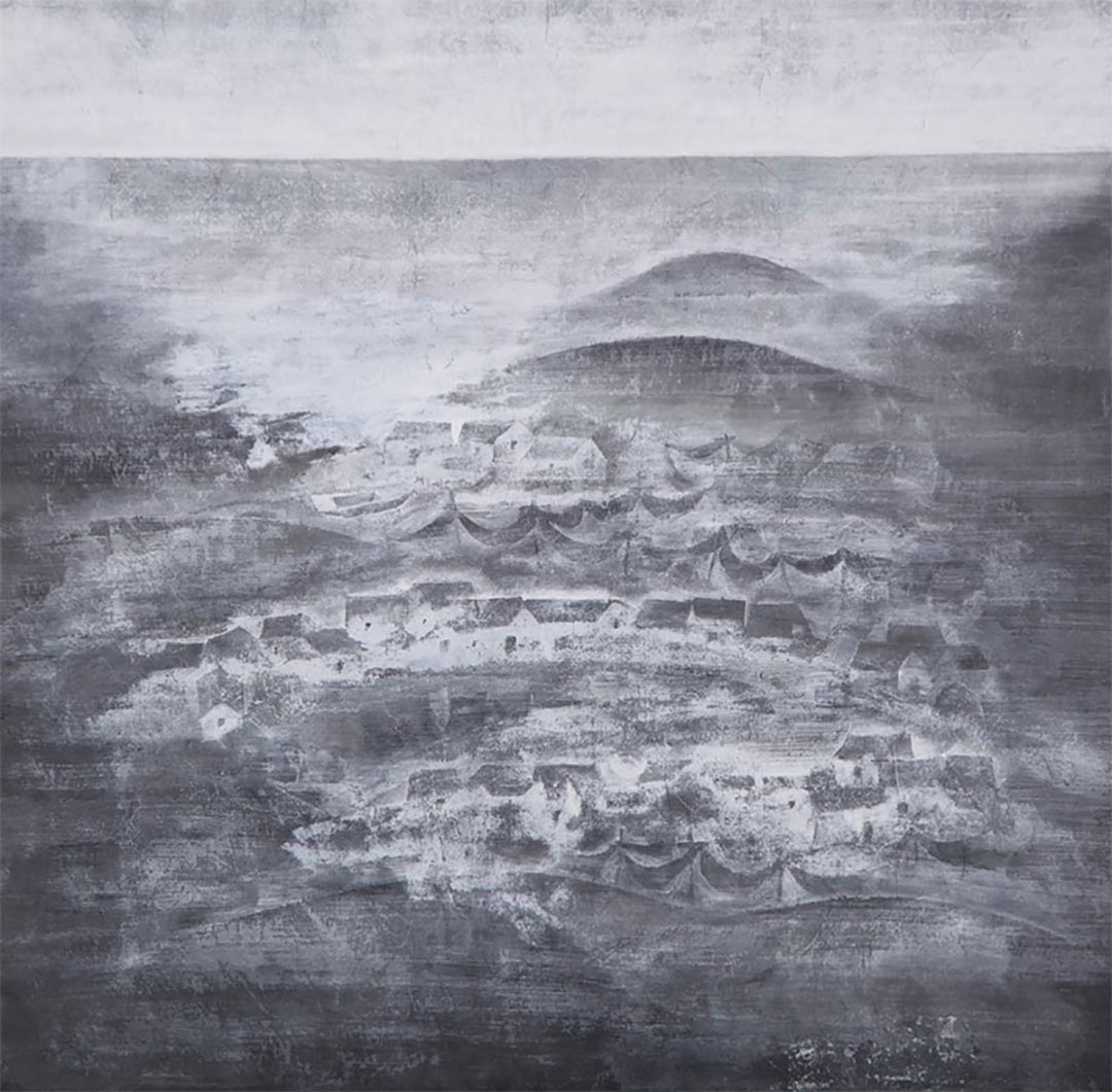 木心畫作-漁村。烏鎮木心美術館網頁圖片
