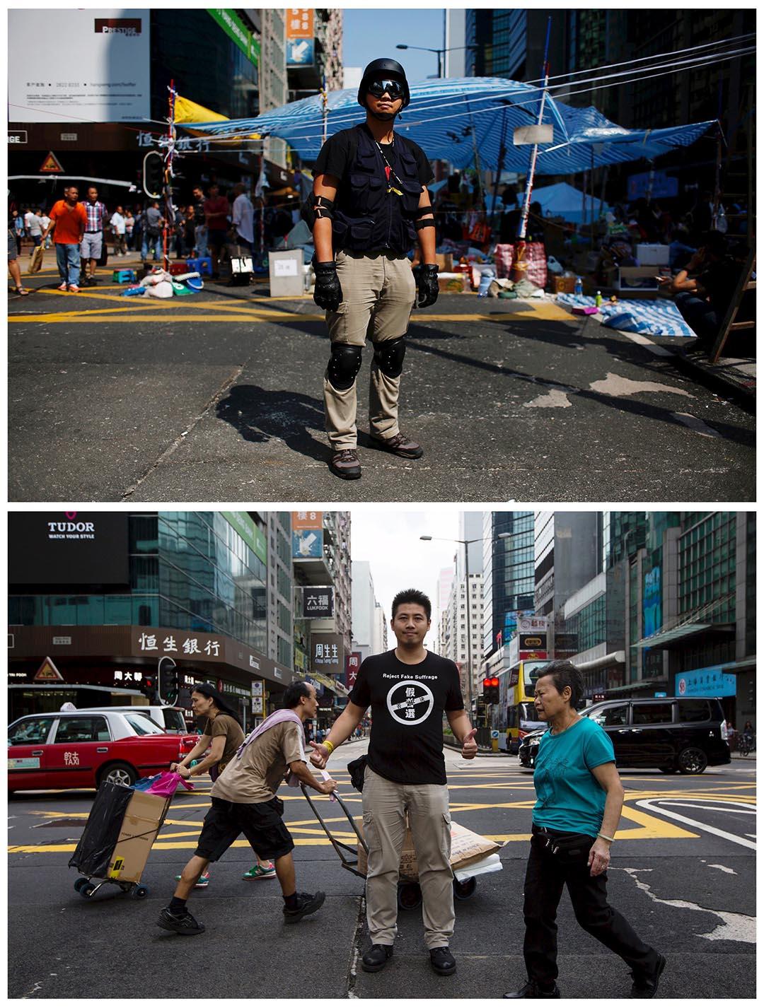 上圖攝於去年10月7日,人稱美國隊長的容偉業在旺角佔領區戴上保護衣物。下圖攝於今年9月17日,容偉業重返旺角亞皆老街拍照。他說:「雨傘運動是百年難得一遇的抗爭。雖然我的家人反對我參與抗爭,但我不會放棄。」 Bobby攝:(上圖)Bobby Yip/REUTERS,(下圖)Tyrone Siu/REUTERS