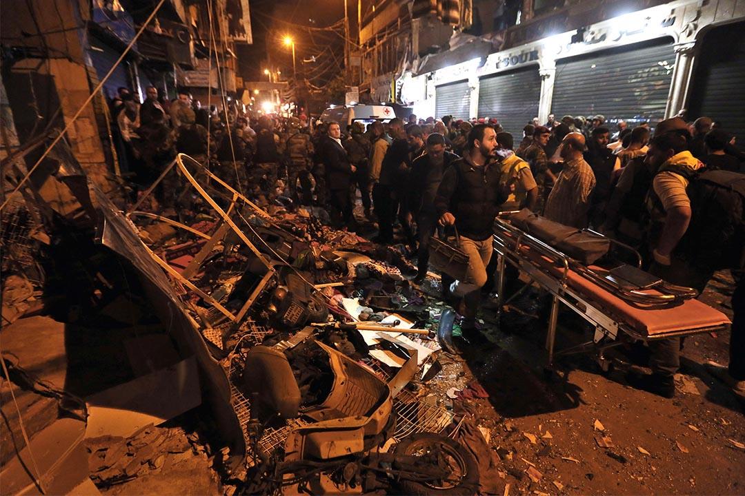 黎巴嫩首都貝魯特發生自殺式炸彈襲擊,至少造成43人死亡,239人受傷。攝:Bilal Hussein/AP Photo