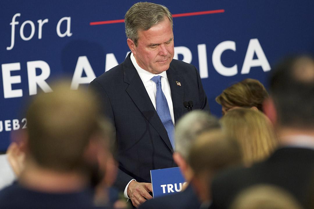 2016年2月20日,美國南卡羅來納州,共和黨候選人傑布·布殊(Jeb Bush)宣布停止美國總統競選活動。攝:Mark Makela/GETTY