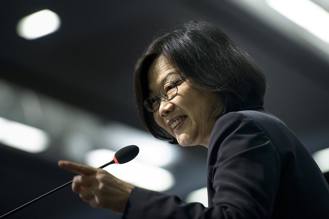 台灣2016總統大選民進黨參選人蔡英文。攝:BRENDAN SMIALOWSKI/AFP