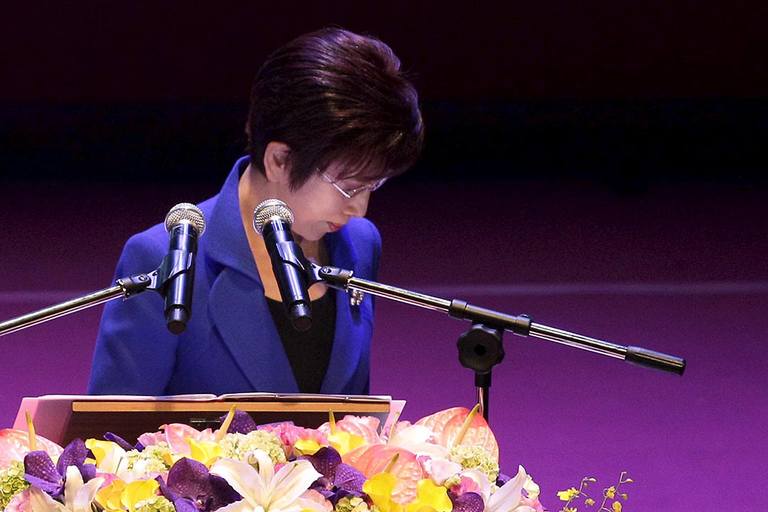 洪秀柱在臨全會演說後走下舞台。攝 : Pichi Chuang/REUTERS