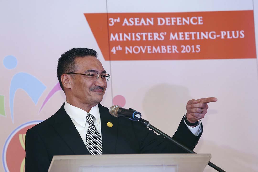 11月4日,馬來西亞國防部長希沙姆丁出席東盟國防部長會議。攝:Goh Seng Chong/REUTERS