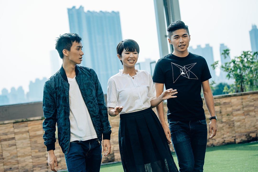 電影《哪一天我們會飛》三位新演員。攝:盧翊銘/ 端傳媒