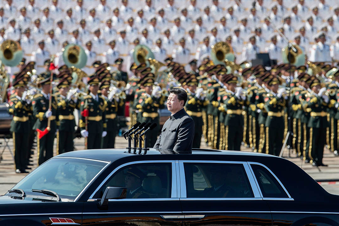 2015年9月3日,中國主席習近平在北京參與閱兵儀式。攝:Kevin Frayer/GETTY